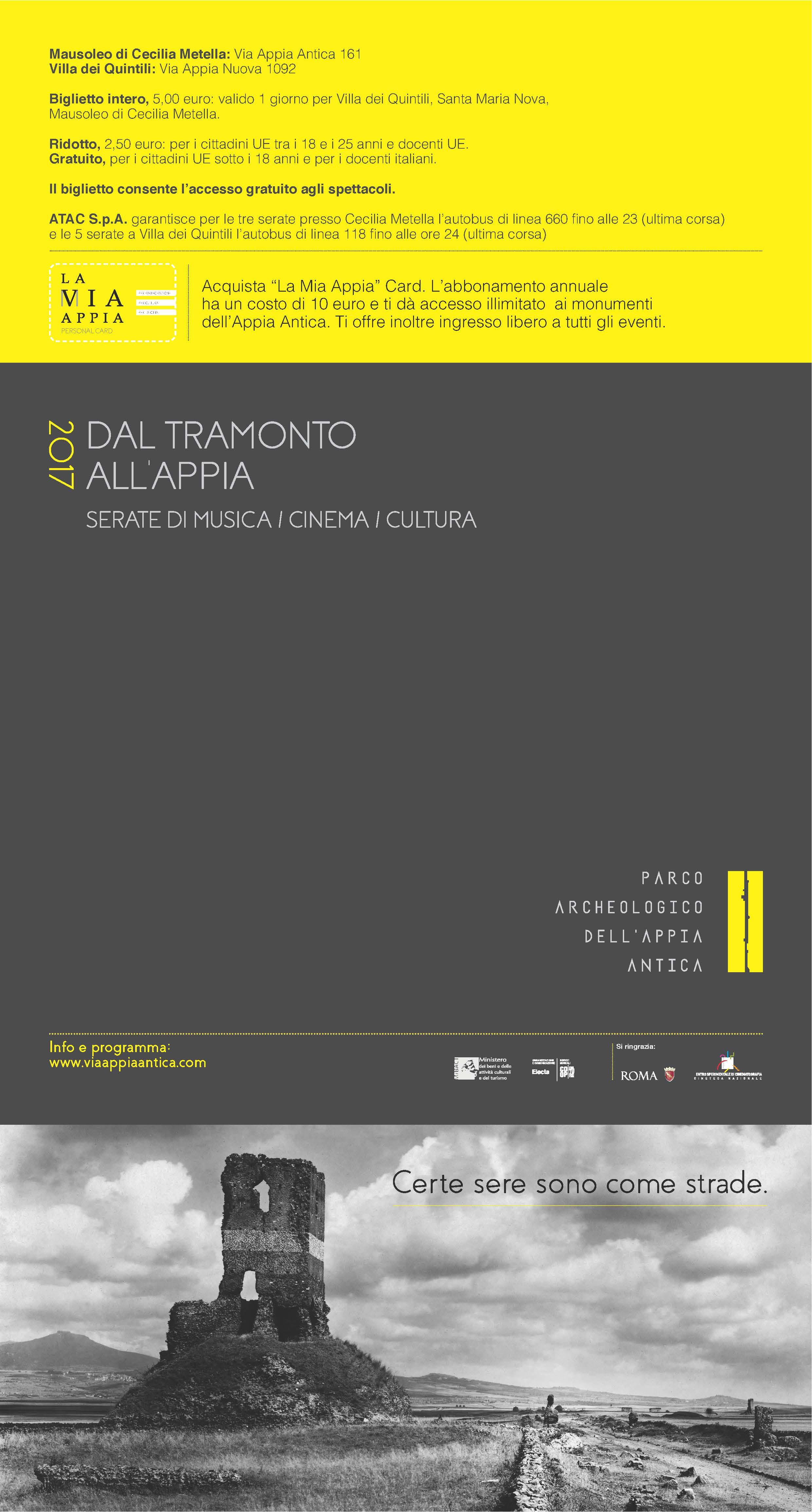 Dal tramonto all'Appia, locandina edizione 2017