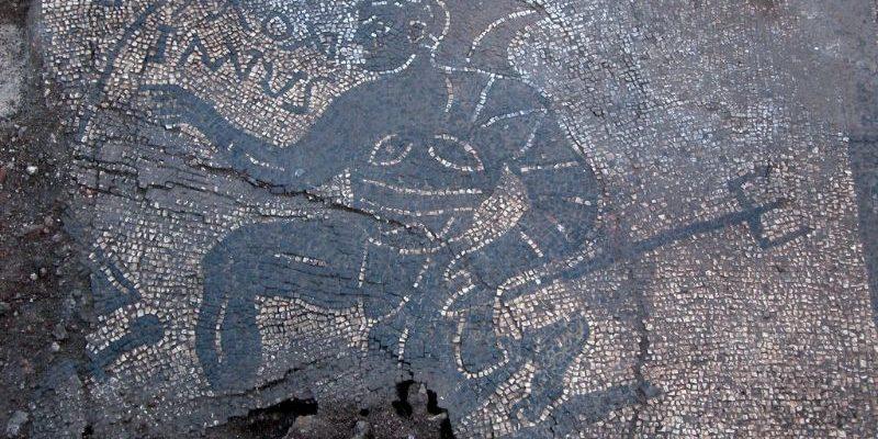 Particolare del mosaico con gladiatori di Santa Maria Nova.