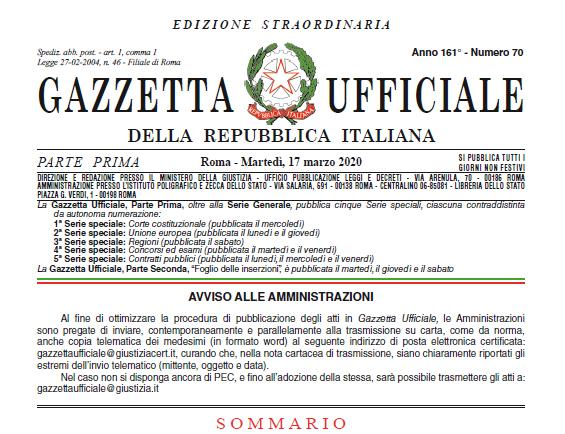 """Decreto Legge """"Cura Italia"""": sospensione dei termini dei procedimenti amministrativi pendenti"""